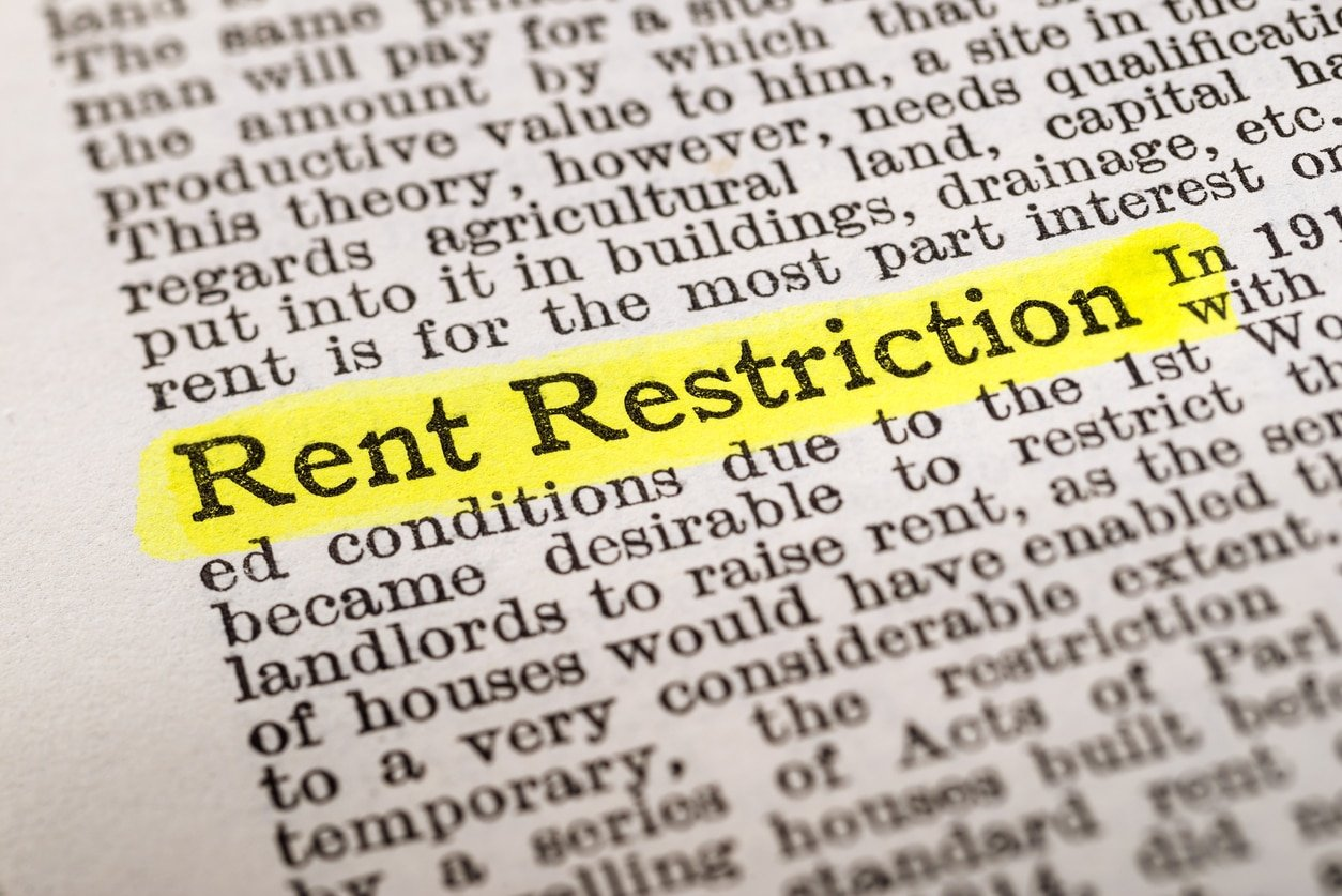 Rent Restriction - dictionary definition highlighted with yellow marker; rent control
