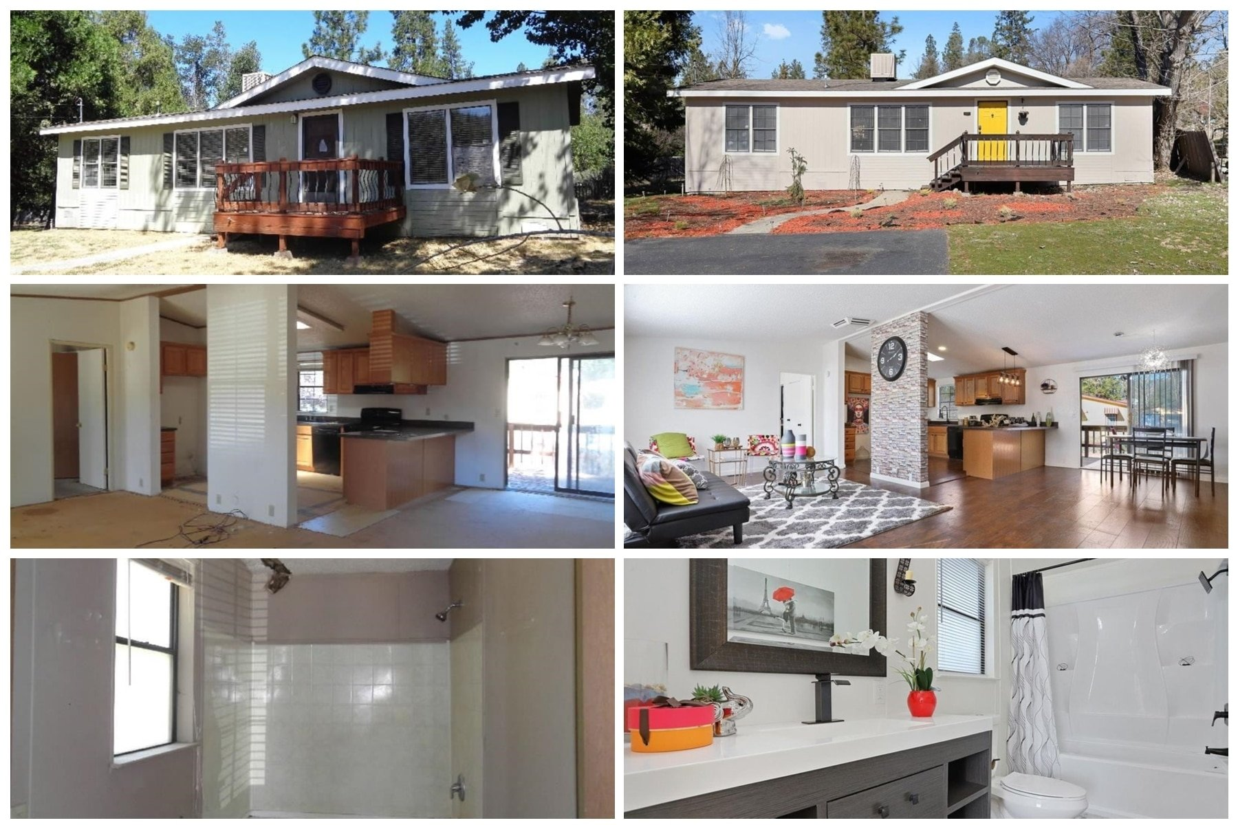 Before & After photos of a manufactured house flip.